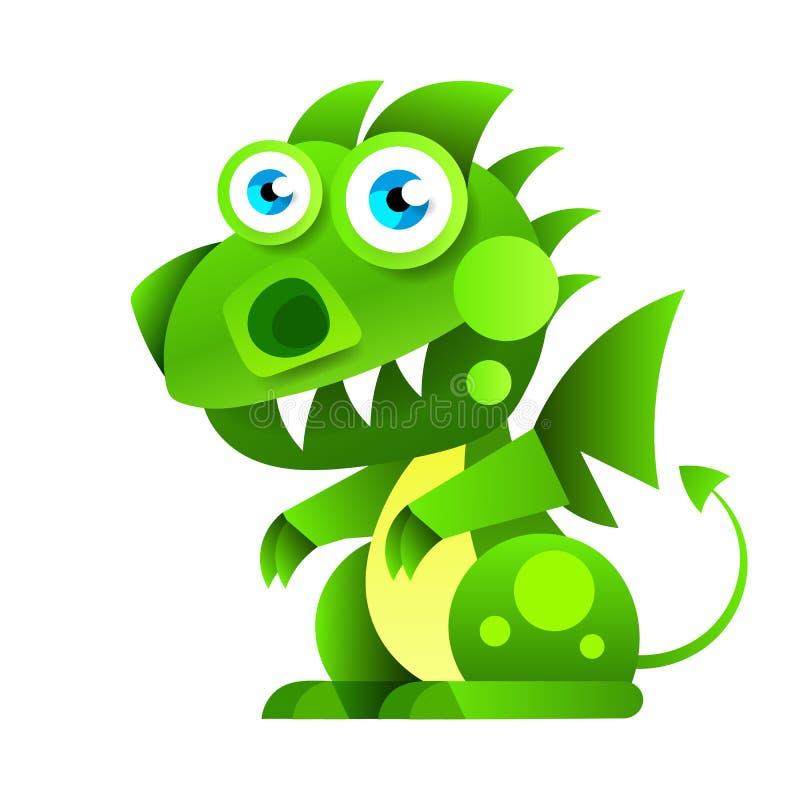 Liten grön sittande drake för rolig tecknad film ocks? vektor f?r coreldrawillustration Isolerad symbol royaltyfri illustrationer