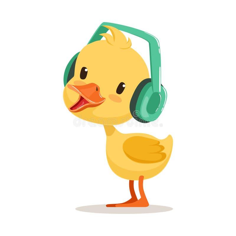 Liten gul andfågelunge som lyssnar till musik på hörlurar, gullig illustration för emojiteckenvektor royaltyfri illustrationer