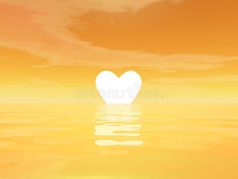 Förälskelsesolnedgång - 3D framför royaltyfri illustrationer