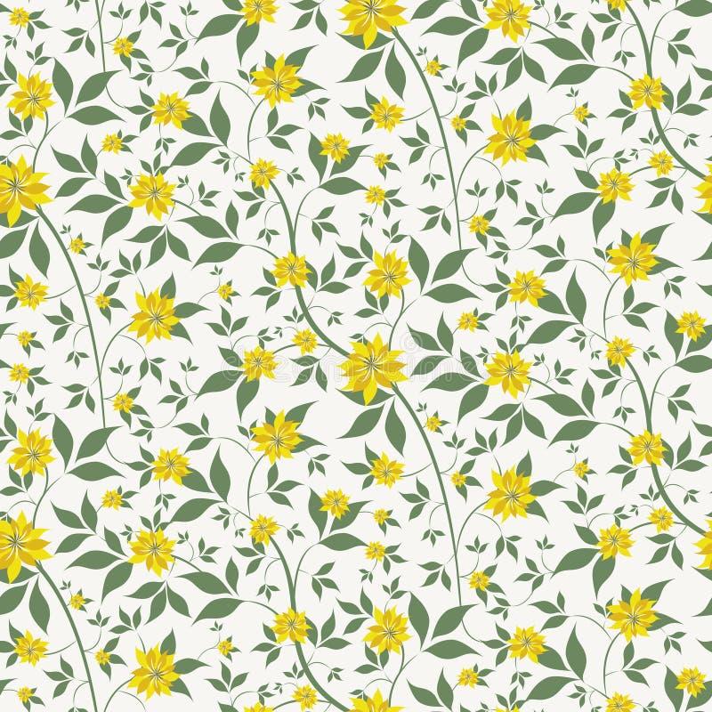 Liten guling blommar sömlös bakgrund royaltyfri illustrationer