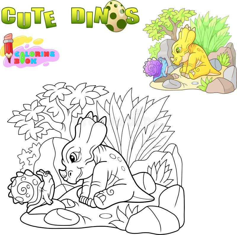 Liten gullig dinosaurie, rolig illustrationfärgläggningbok vektor illustrationer