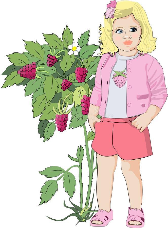Liten gullig flicka från tecknade filmen nära hallonet vektor illustrationer