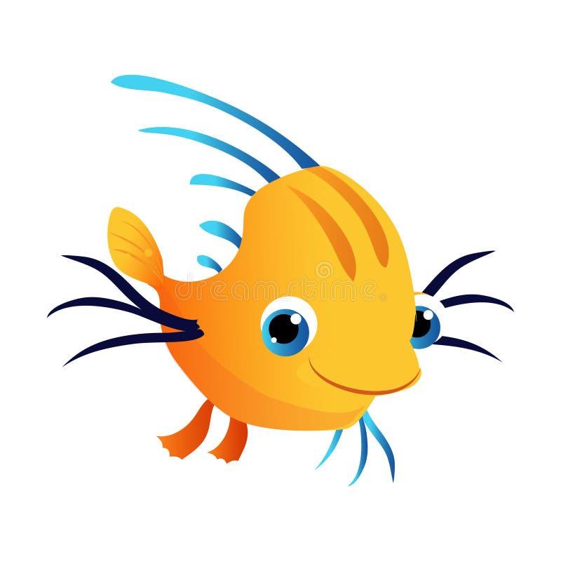 Liten gullig gul fisk Hav som är tropiskt, akvariefisk Färgrikt tecknad filmtecken vektor illustrationer