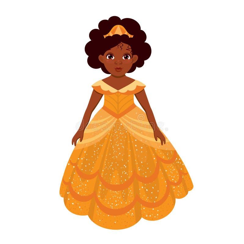 Liten gullig härlig afrikansk amerikanprinsessa i tecknad filmstil vektor illustrationer