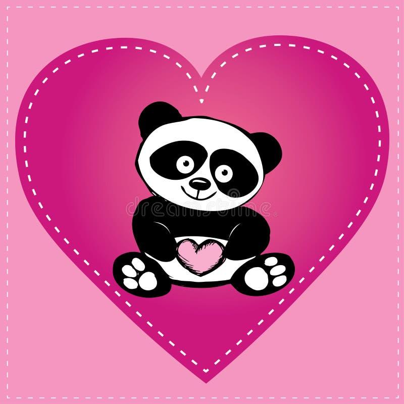 Liten gullig panda i hjärta, handteckning vektor illustrationer