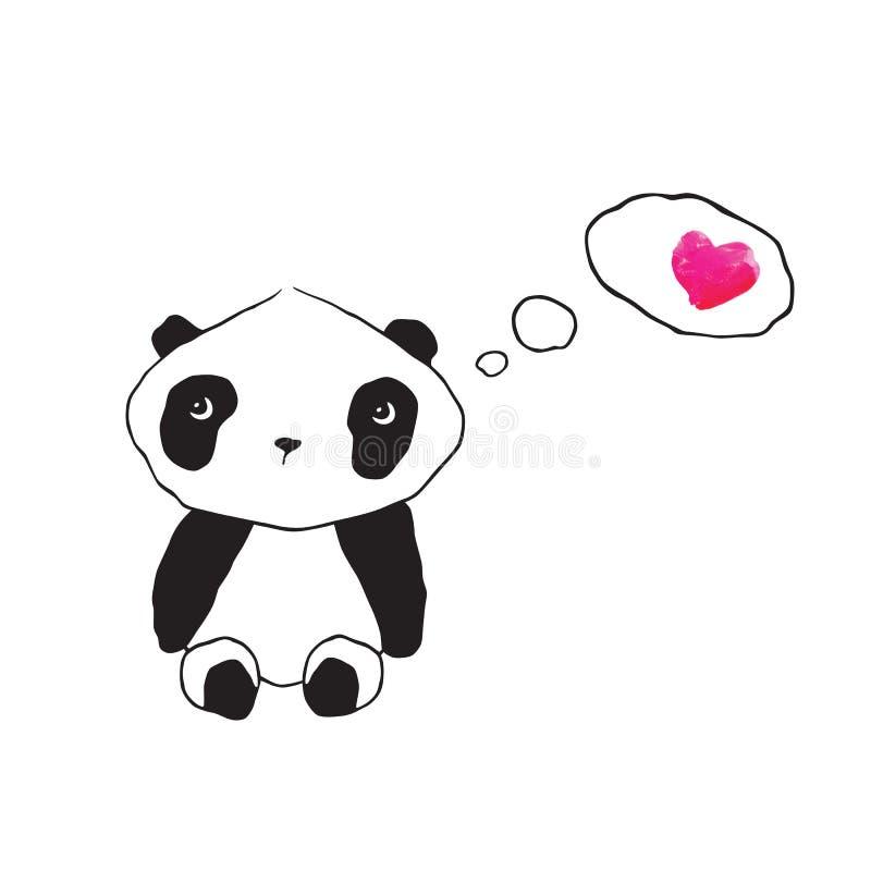 Liten gullig panda med rosa vattenfärghjärta Hälsningkort för dagen för valentin` s, dag för moder` s, dag för fader` s, födelsed royaltyfri illustrationer