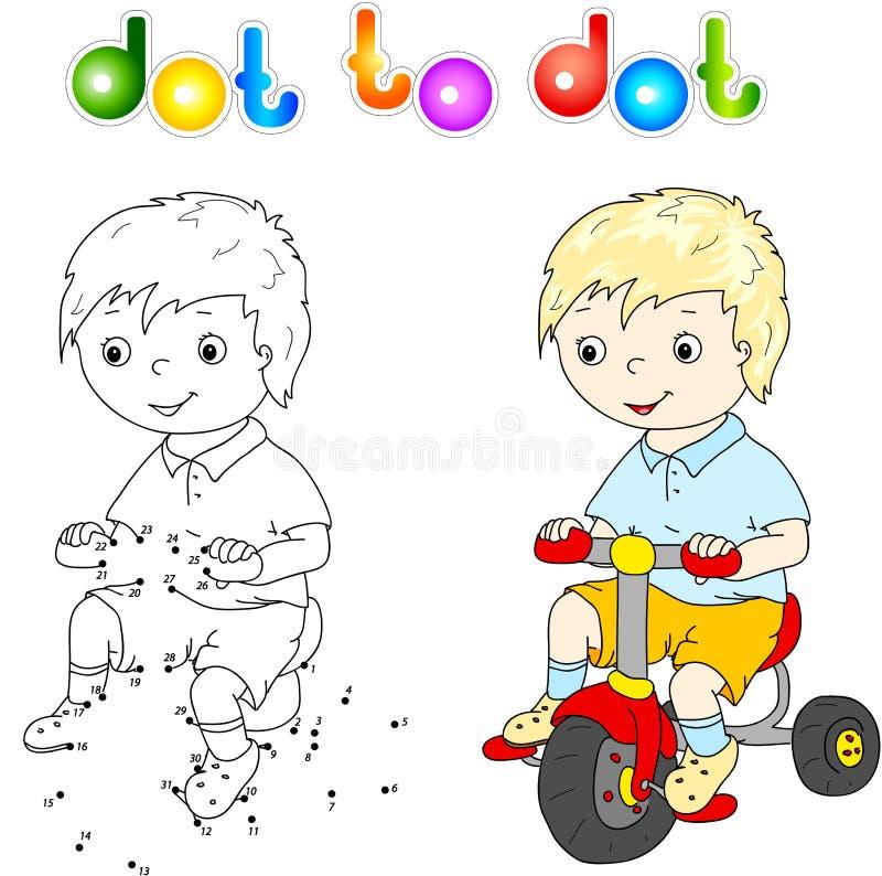 Liten gullig pojke som rider en cykel vektor illustrationer