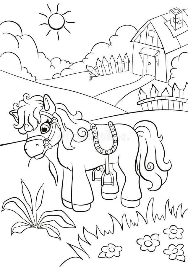 Liten gullig ponny som äter gräs på lantgården vektor illustrationer