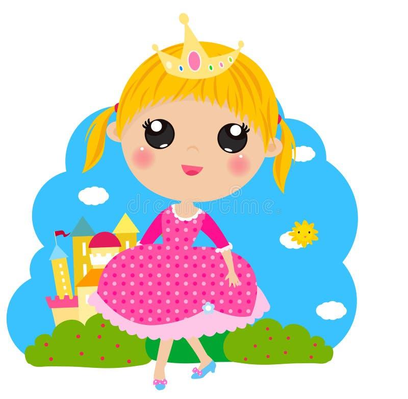 Liten gullig prinsessa och slott royaltyfri illustrationer