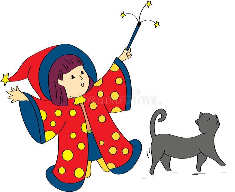 liten häxa för kattflicka royaltyfri illustrationer