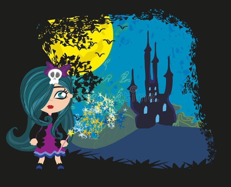 Liten häxa i natt royaltyfri illustrationer