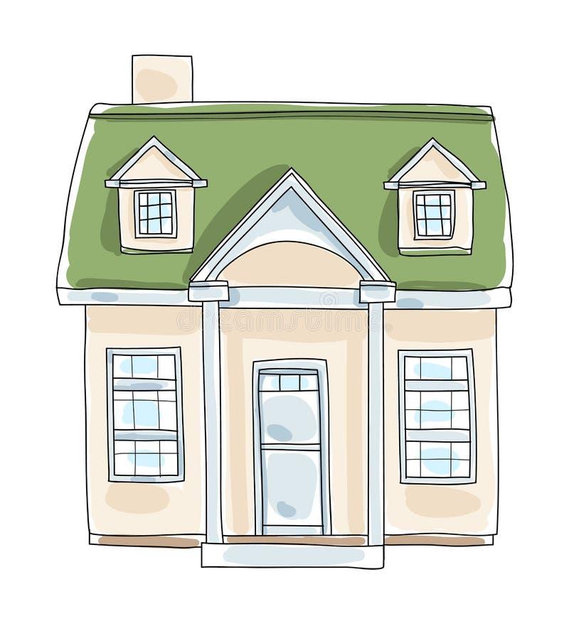 Liten hem- mycket liten konst il för vektor för husstugatappning hand dragen stock illustrationer