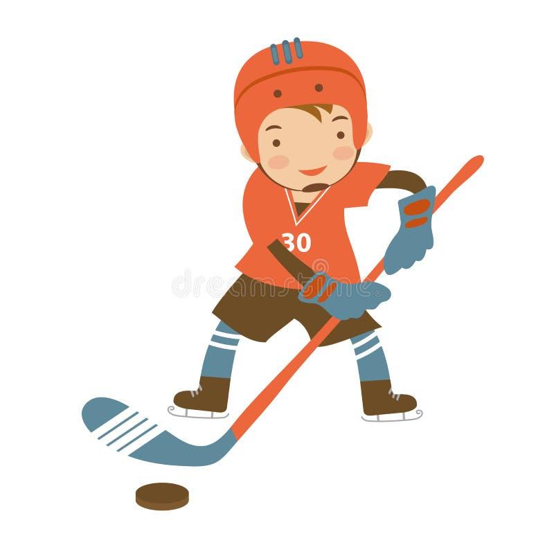 Liten hockeyspelare royaltyfri illustrationer