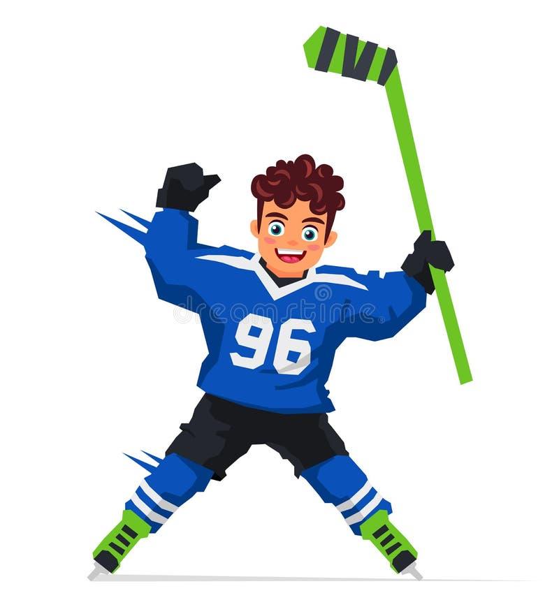 Liten hockeyspelare med en pinne stock illustrationer