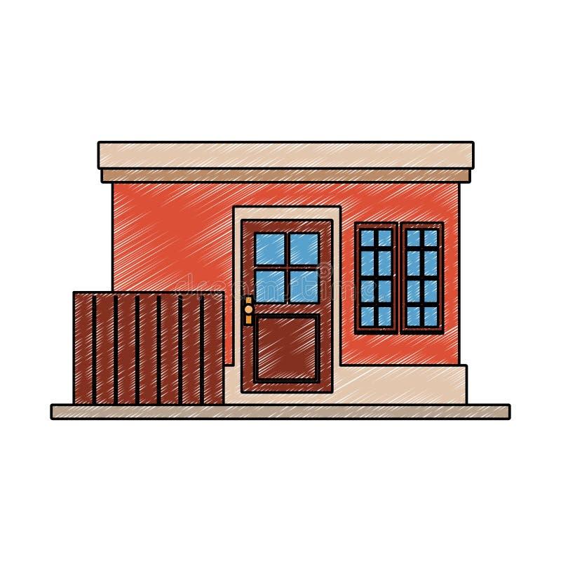 Liten husbyggnad klottrar vektor illustrationer