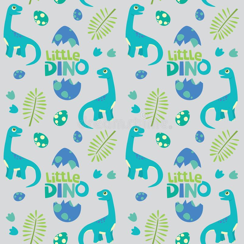 Liten illustration för Dino Brontosaurus Seamless Pattern Gray bakgrundsvektor royaltyfri illustrationer