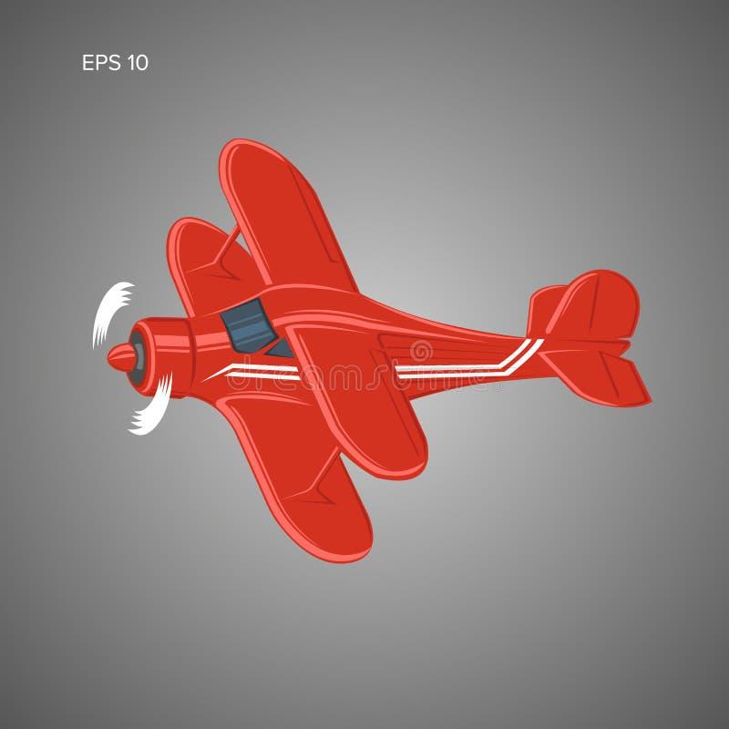 Liten illustration för plan vektor Framdrivit biplanflygplan för enkel motor vektor illustrationer