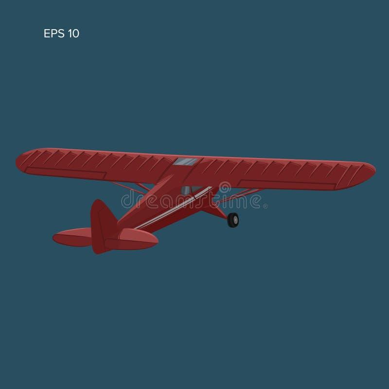 Liten illustration för plan vektor Framdrivit flygplan för enkel motor vektor illustrationer
