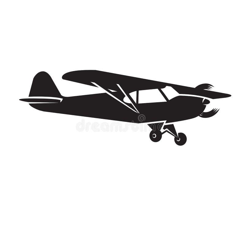 Liten illustration för plan vektor Framdrivit flygplan för enkel motor royaltyfri illustrationer