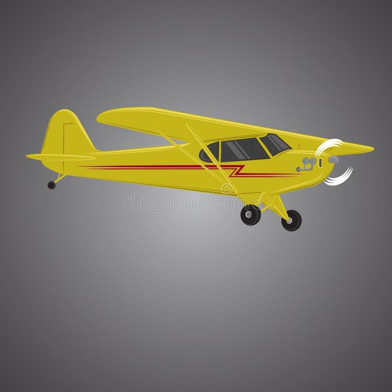 Liten illustration för plan vektor Framdrivit flygplan för enkel motor Luft turnerar wehicle vektor illustrationer
