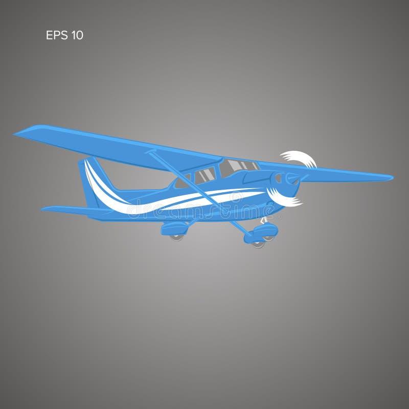 Liten illustration för plan vektor Framdrivit flygplan för enkel motor också vektor för coreldrawillustration stock illustrationer