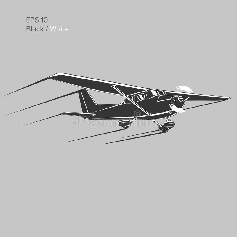 Liten illustration för plan vektor Framdrivit flygplan för enkel motor också vektor för coreldrawillustration symbol vektor illustrationer