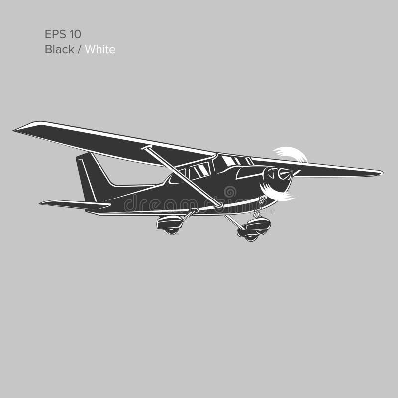 Liten illustration för plan vektor Framdrivit flygplan för enkel motor också vektor för coreldrawillustration symbol stock illustrationer