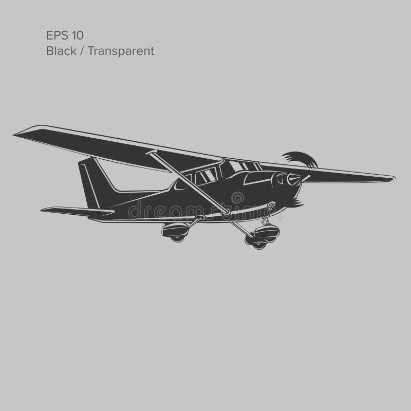 Liten illustration för plan vektor Framdrivit flygplan för enkel motor också vektor för coreldrawillustration symbol royaltyfri illustrationer