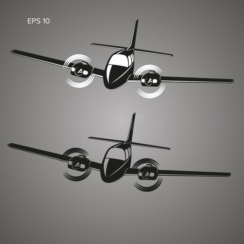 Liten illustration för plan vektor Tvilling- motor framdrivit flygplan Affärsflygplan stock illustrationer