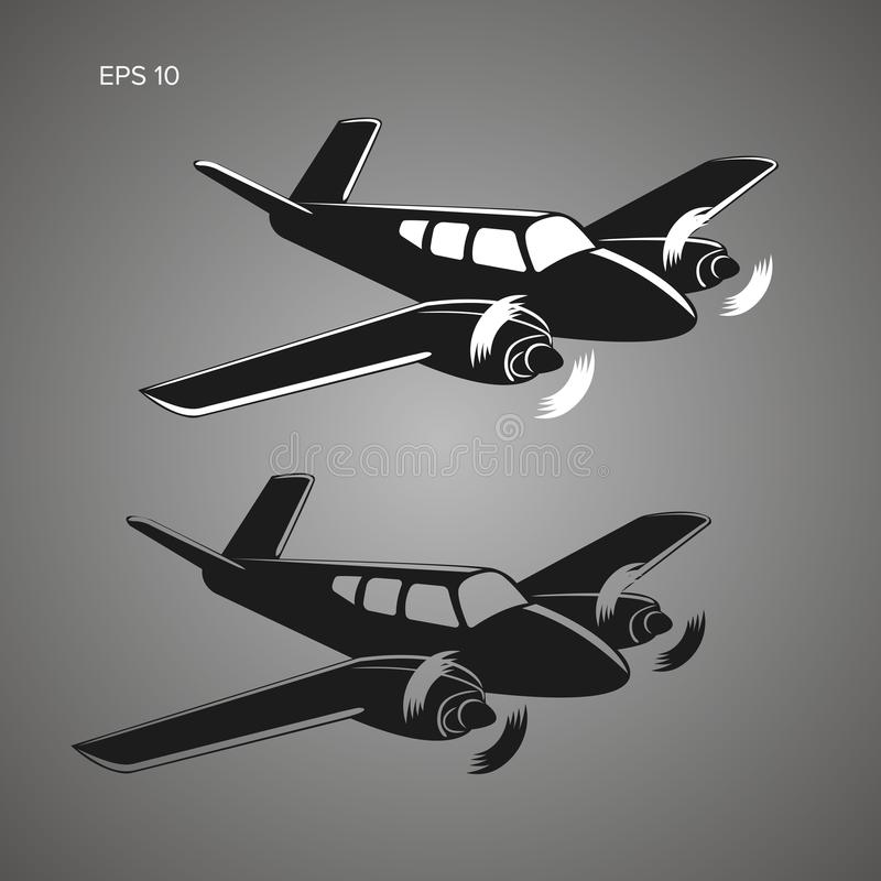 Liten illustration för plan vektor Tvilling- motor framdrivit flygplan Affärsflygplan vektor illustrationer