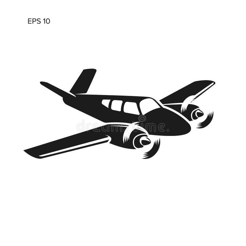 Liten illustration för plan vektor Tvilling- motor framdrivit flygplan Affärsflygplan royaltyfri illustrationer