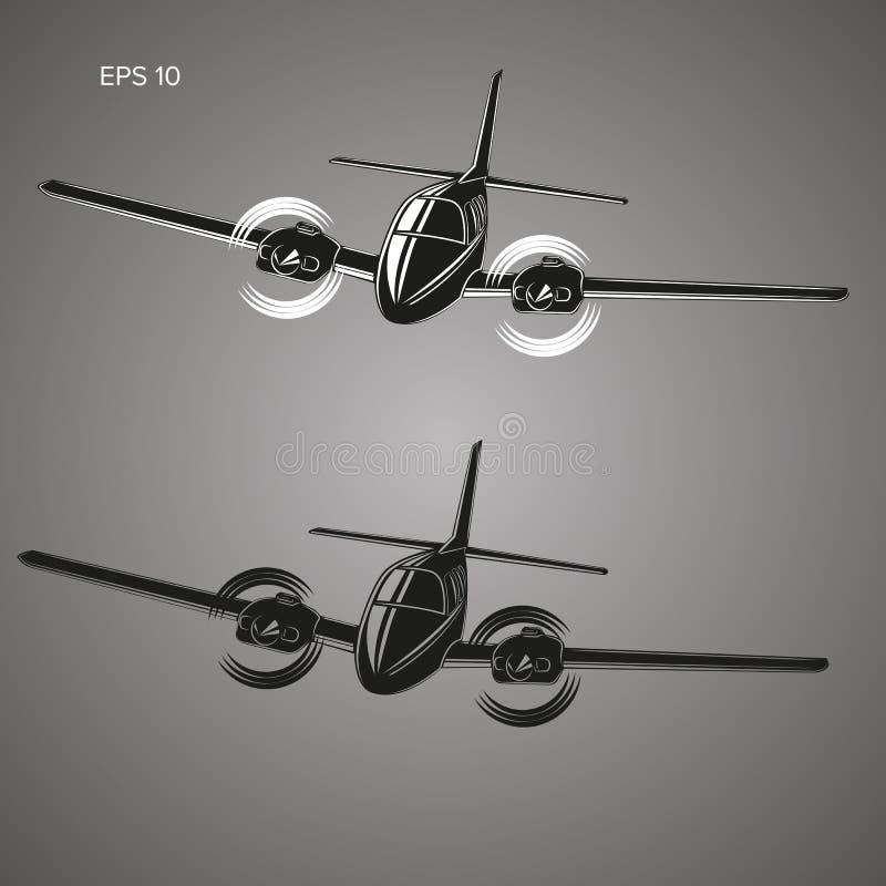 Liten illustration för plan vektor Tvilling- motor framdrivit flygplan Flygplan för affärstur vektor illustrationer