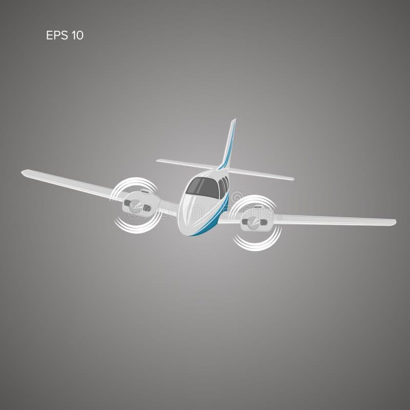 Liten illustration för plan vektor Tvilling- motor framdrivit flygplan Flygplan för affärstur royaltyfri illustrationer