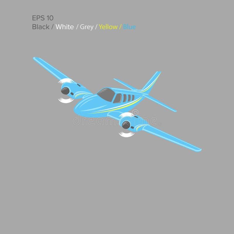 Liten illustration för plan vektor Tvilling- motor framdrivit flygplan också vektor för coreldrawillustration stock illustrationer