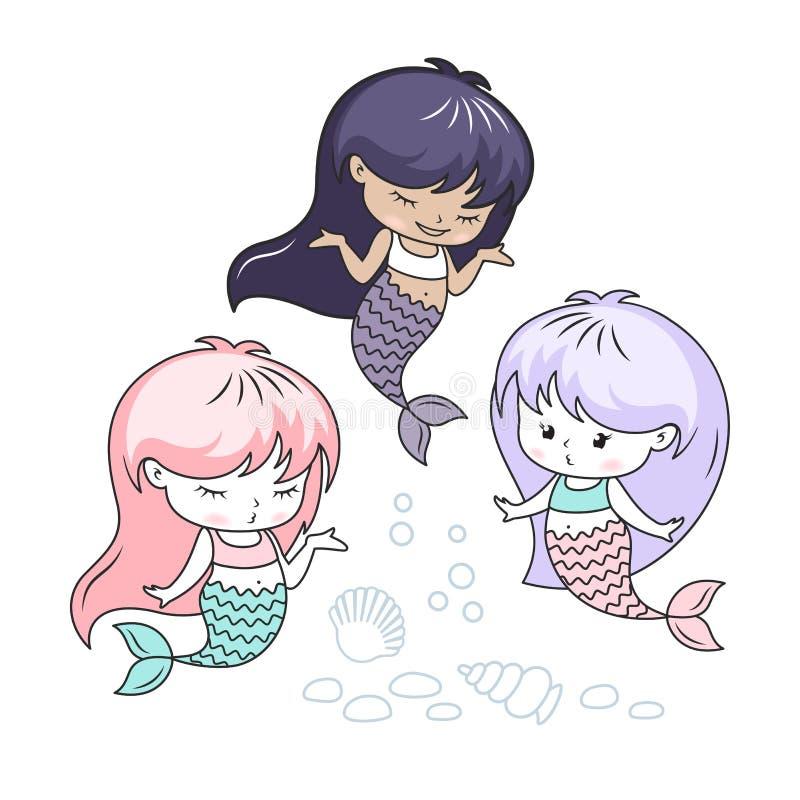 Liten illustration för vektor för sjöjungfrutecknad filmtecken stock illustrationer