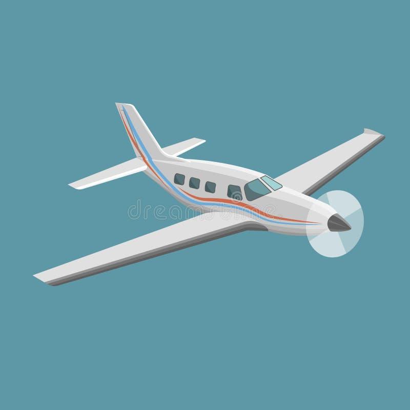 Liten illustration f?r plan vektor Framdrivit flygplan f?r enkel motor stock illustrationer