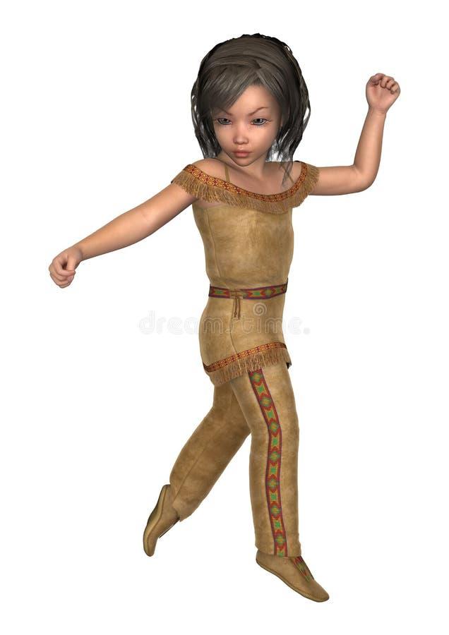 liten indisk flicka för illustration 3D på vit stock illustrationer