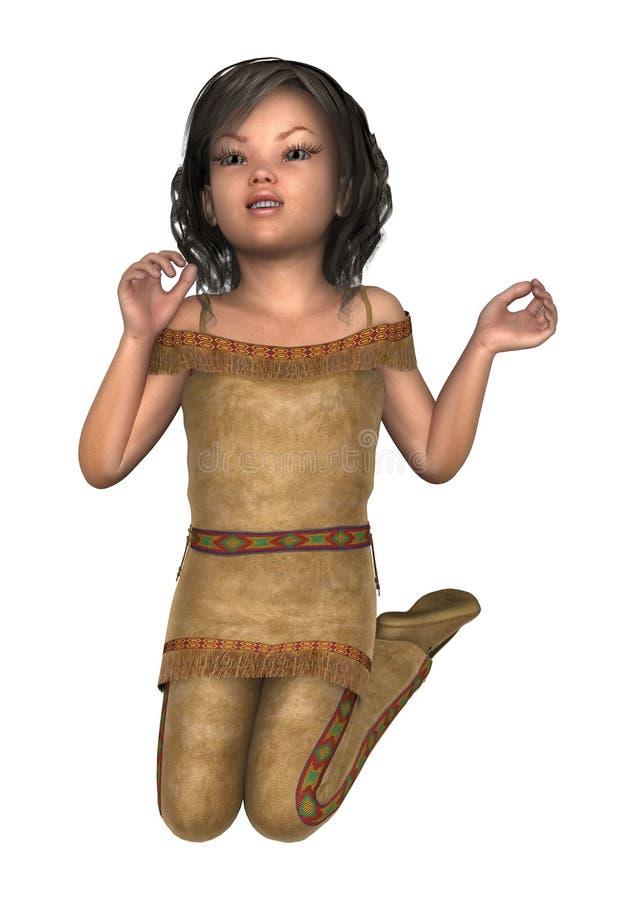 liten indisk flicka för illustration 3D på vit royaltyfri illustrationer
