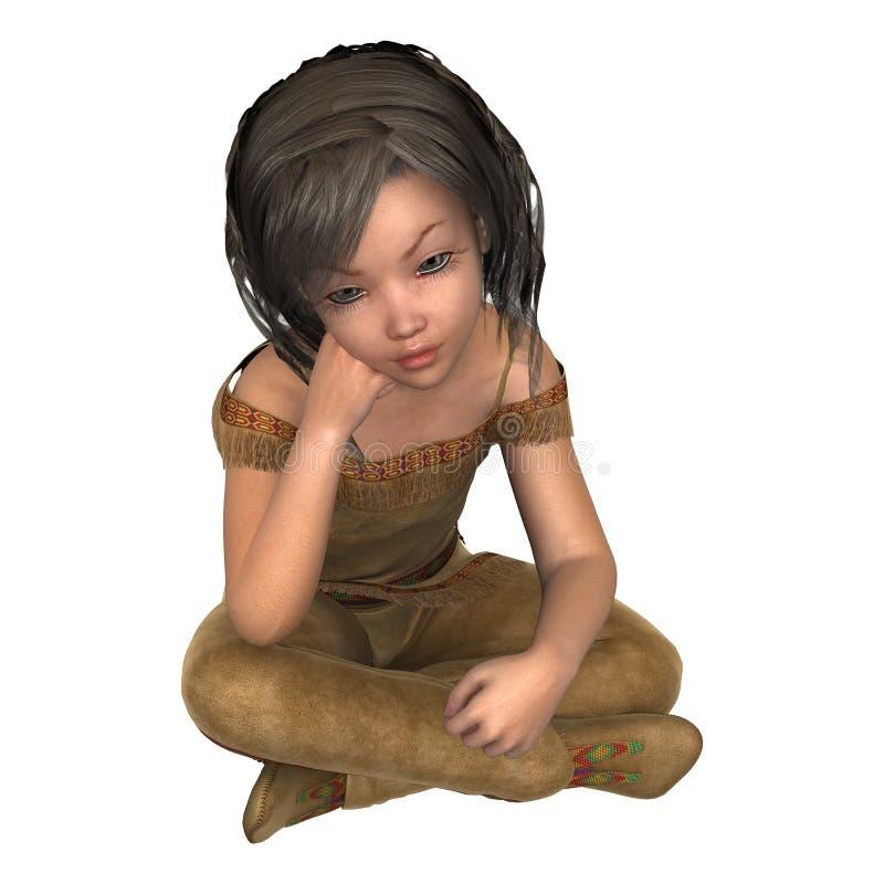 liten indisk flicka för illustration 3D på vit vektor illustrationer