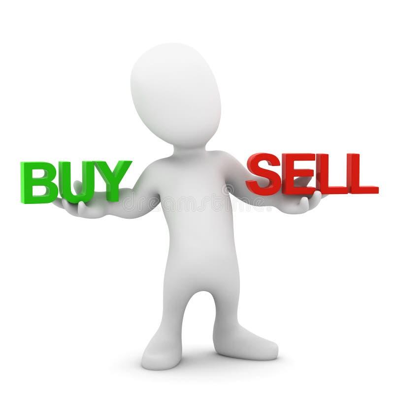 liten jämviktsköp och försäljning för man 3d royaltyfri illustrationer