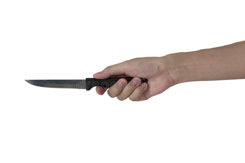 Liten kökkniv i manhanden som isoleras med vit bakgrund arkivbild