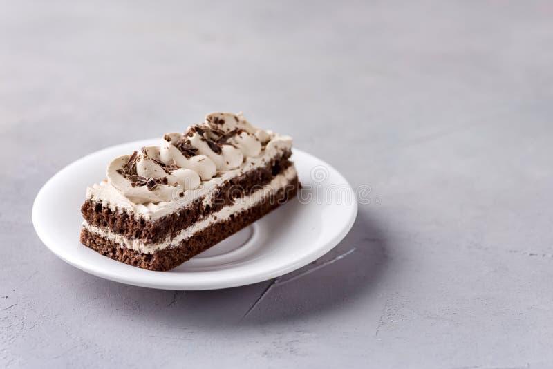 Liten kaffechokladkaka på vitt utrymme för kopia för bakelse för kaka för plattaGrey Background Tasty Beautiful Dessert choklad fotografering för bildbyråer