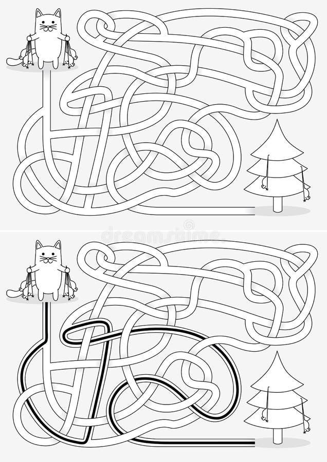 Liten kattlabyrint stock illustrationer