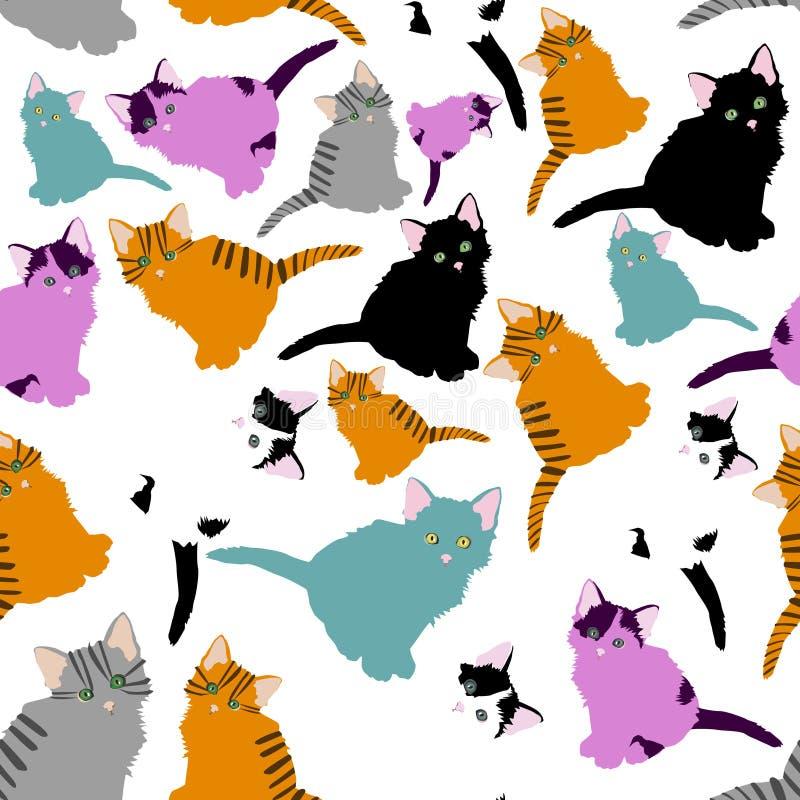 Liten kattmodell modell med gulliga tecknad filmklotterkatter på vit bakgrund Små färgrika kattungar roliga djur royaltyfri illustrationer