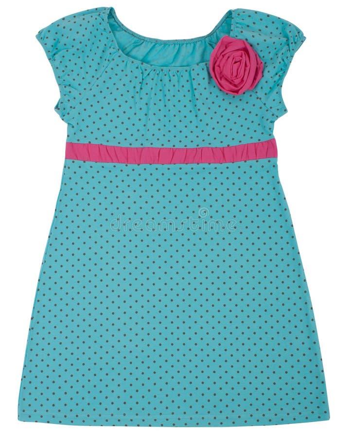 Liten klänning för barnflickor Isolerat på vit royaltyfria foton