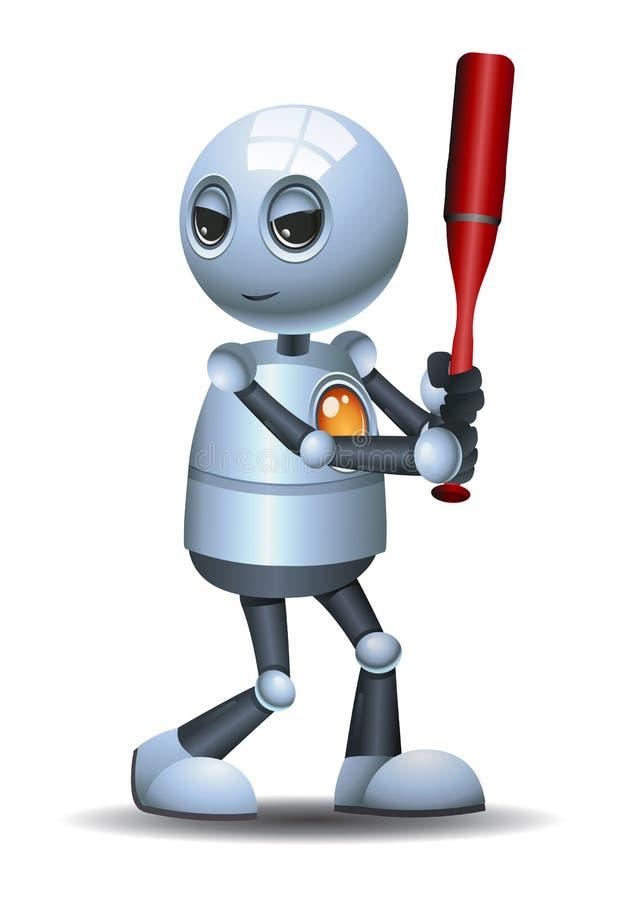 Liten klubba för robothållbaseball royaltyfri illustrationer