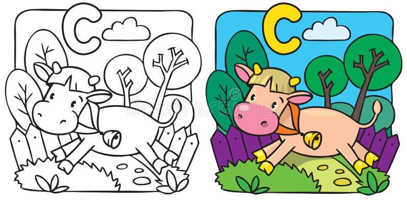 Liten ko- eller kalvfärgläggningbok Alfabet C stock illustrationer