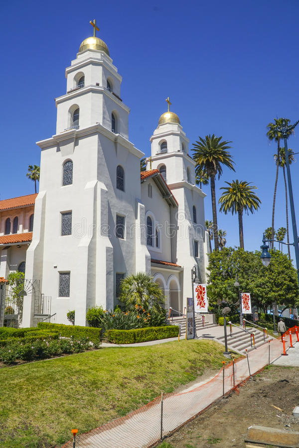 Liten kyrka i Beverly Hills - LOS ANGELES - KALIFORNIEN - APRIL 20, 2017 arkivbild