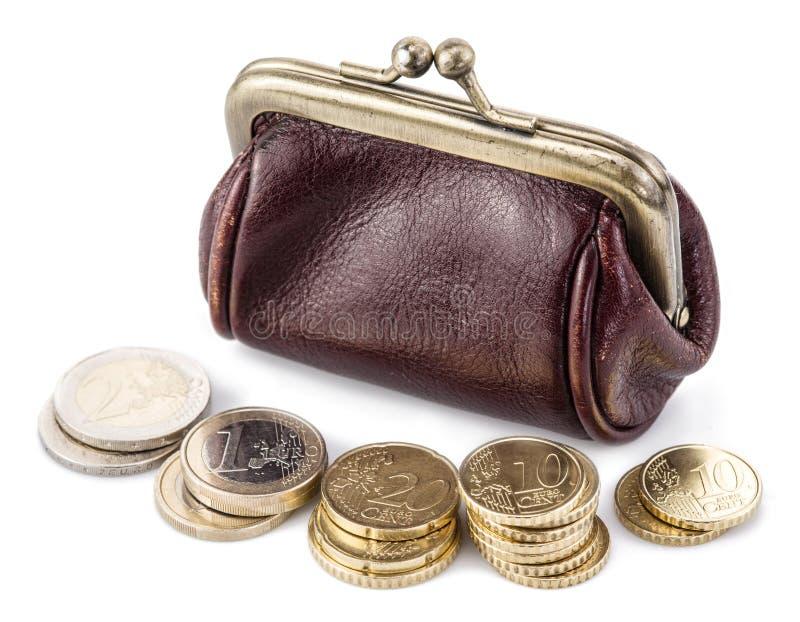 Liten läderhandväska för mynt royaltyfria bilder