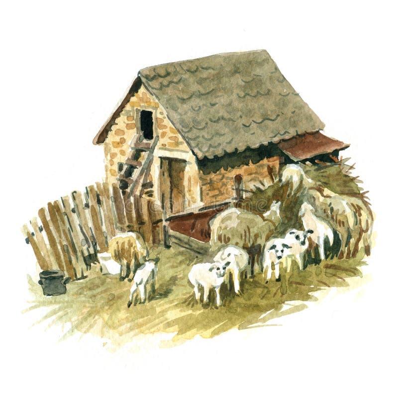 Liten lantgård vektor illustrationer